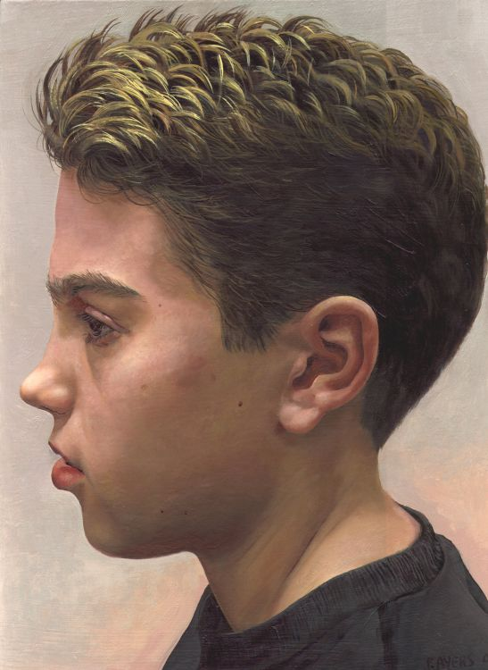 Boy in Profile View - Painting by Philip Ayers