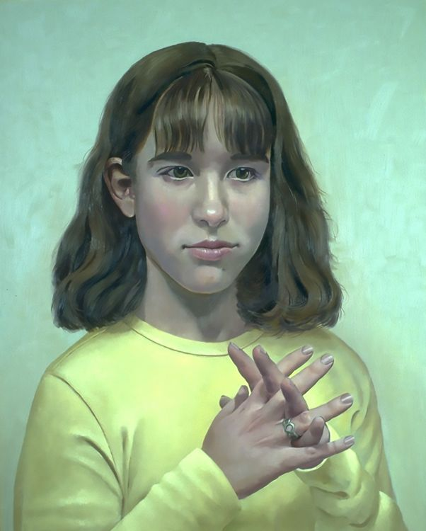 Emma with Fingers Crossed - Painting by Philip Ayers