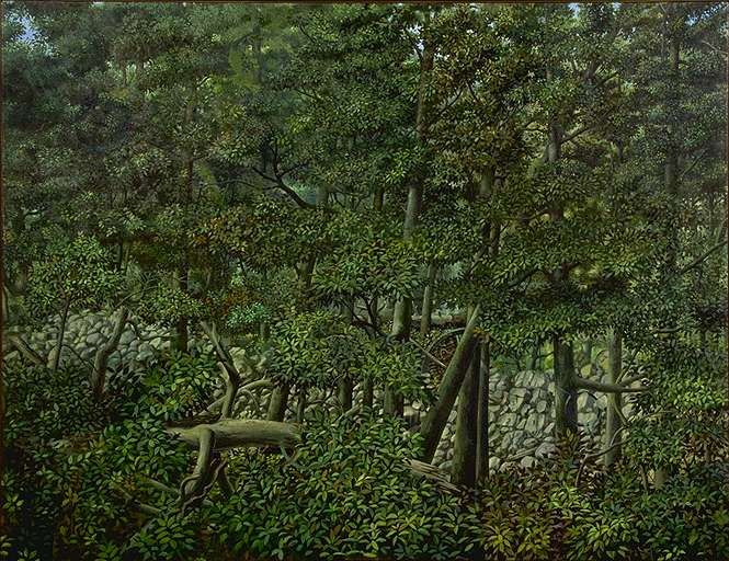 Forest with Wheel - Painting by Philip Ayers