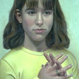 Emma with Fingers Crossed - Painting thumbnail by Philip Ayers